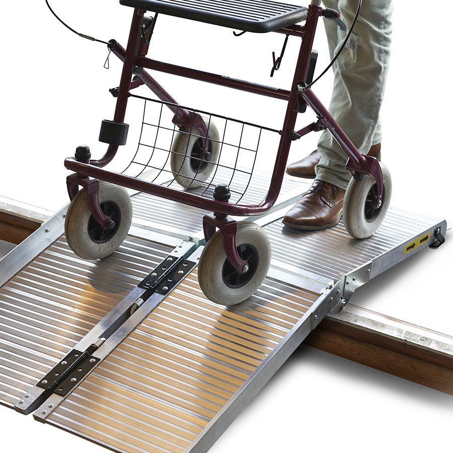 Oprijplaat scootmobiel rolstoel opvouwbaar aluminium rijgoot drempelhelling 6