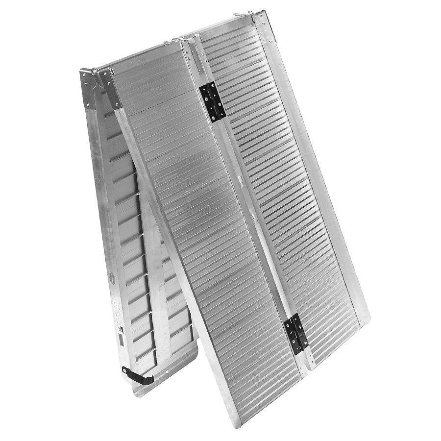 Lange, aluminium oprijplaat drempelhulp opvouwbaar - 240 cm rijgoot rijplaat 3