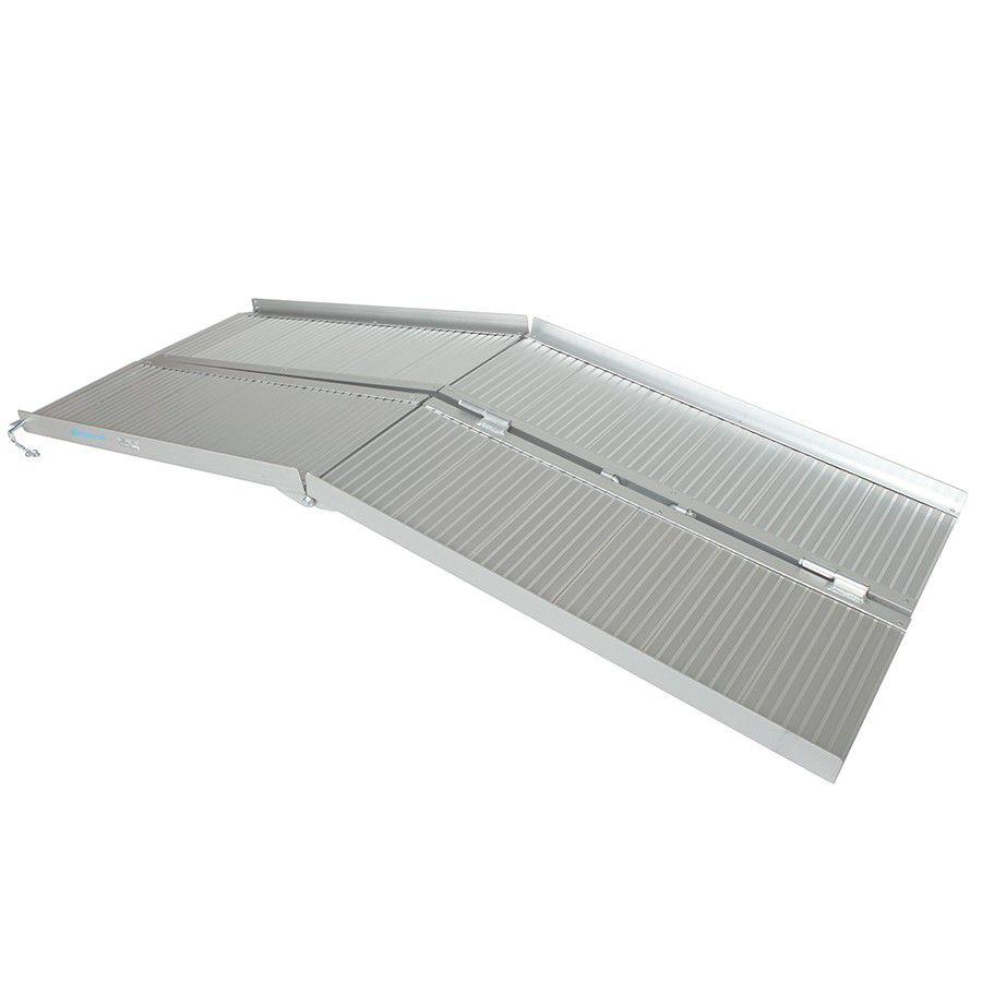 Oprijplaat drempelhulp inklapbaar - 180 cm rijplaat oprijplank aluminium 2