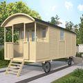 Houten Pipowagen 600 x 237 x 326 cm Met veranda Sfeer