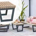 Moderne tafel Siesta 80 cm Stalen frame met hout