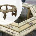 Zeskantige Boombank Geïmpregneerd hout 149 cm doorsnee