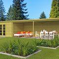 Blockhaus Orleans mit Überdachung - 1050 x 300 x 217 cm - Imprägniert
