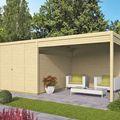 blokhut tuinhuis telma - Moderne tuinschuur met overkapping in designprofiel 28mm