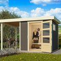 Tuinhuis Oburg 2 Terragrijs met overkapping 150 cm Sfeer