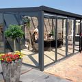 tuinkamer aluminium met dubbele openslaande deuren antraciet