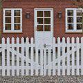 Dubbele deur tuinhek gepunte lamellen 300 cm breed