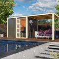 Qubic terragrijs met overkapping tuinhuis sfeerfoto