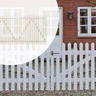 Dubbele deur tuinhek wit gegrond 300cm breed gepunte lamellen