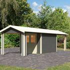 Espelo 4 terragrijs met dubbele overkapping Karibu Tuinhuis