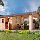 Espelo 7 onbehandeld Karibu tuinhuis overkapping sfeer