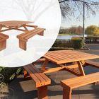Hardhouten Picknicktafel Vierkant 210 x 210 x 75 cm voor 8 personen
