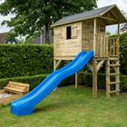 Blauwe glijbaan speelhuisje