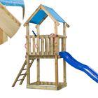 Houten Speeltoestel Lizzy Speeltoren met glijbaan, trap, zandbak en overdekt hoog speelhuisje