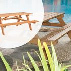 Luxe Hardhouten Picknicktafel 200 x 160 x 75 cm Bladdikte 35 mm voor 4 personen