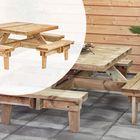 Picknicktafel Geïmpregneerd hout Vierkant 230 x 230 x 70 cm voor 8 personen