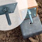 RVS hoogteverstelling voor betonpoer met plaat - 3mm dikte