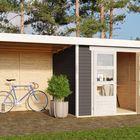 Gartenhaus Askola 2 mit Überdachung 240 cm Terragrau