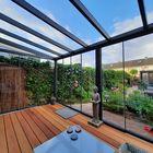 aluminium tuinkamer antraciet met glazen schuifwand