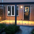 aluminium tuinkamer met echt glas dak en 3 zijden schuifwanden