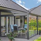 aluminium tuinkamer met glazen schuifwand systeem antraciet Gardendreams
