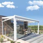 aluminium veranda wit met glazen schuifwanden en helder dak