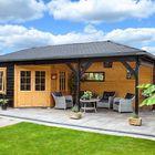 blokhut zwart gebeitst - tuinhuis zwart geverfd voorbeeld
