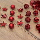 Kerstballen onbreekbaar rood kerstversiering