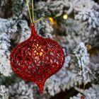 Kerstversiering ui kerstbal rood glitter