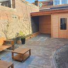 Tuinhuis met Red Class wood Zweeds Rabat plank
