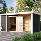 Schwandorf 3 Karibu Terragrau mit Überdachung und extra Wände (extra Option)