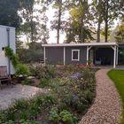 Tuin met Blokhutprieel Ladyk met platdak - Aangepast en geverfd