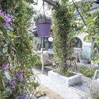 Tuin met houten bielzen en grind