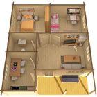 Vorgefertigtes Blockhaus 3d schets Innenraum