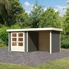 Tuinhuis Askola 2 Terragrijs met overkapping en dichten wanden (extra optie)