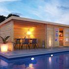 Bastrup 7 Karibu met verspringend dak en dichte wanden (extra optie)