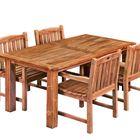 Eettafel modern teak met stoelen