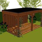 overkapping met plat dak en verandahek