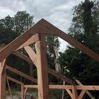 kapschuur overkapping bouwen 14.5 x 14.5 cm lariks staanders geschaafd