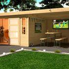 Muhlendorf 4 Karibu met dakaanbouw en dichte wanden (extra optie)