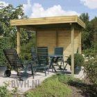 Paviljoen met vlak dak inclusief 2 gesloten wanden (extra optie)