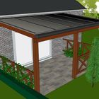 polycarbonaat platen dak met lariks douglas hout aanbouw