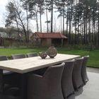 Steigerhouten kloostertafel met antraciet onderstel