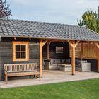 zadeldak houtbouw met antraciet grijs dakpanplaten