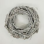 GRAPE WOOD WREATH  50 CM. WHITE WASHED