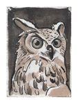 "Linen wall art ""Owl"" 15x21x2.5cm Multi"