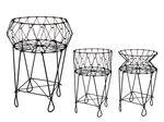 pc. 1 metal basket/feet 'folding' black Ø50x80 cm