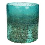 Candle Holder Glass Blue 15x15x16cm