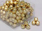 cb. 144 glasballen/wire goud combi 25mm