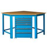 Hoekwerkbank met MDF blad + gereedschapskast blauw 1